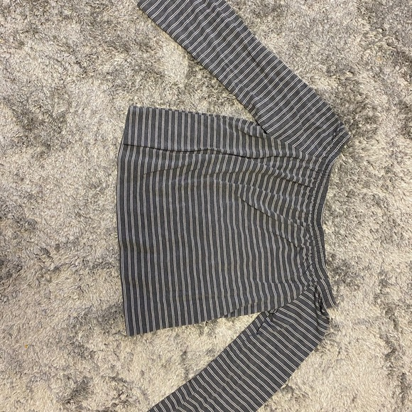 Striped grey long sleeve off the shoulder blouse